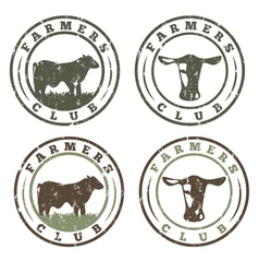 Grunge labels set of farmers club with cows vector