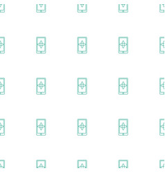 hand on smartphone icon pattern seamless white vector image