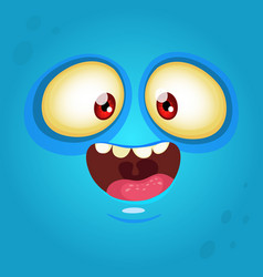 happy cartoon monster face vector image