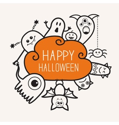 Happy Halloween contour outline doodle Ghost bat vector image