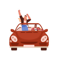 happy romantic couple traveling by car people vector image
