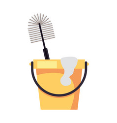 Housekepping bucket tool with brush vector