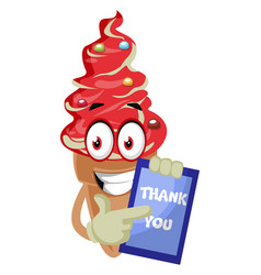 ice cream with thank you sign on white background vector image
