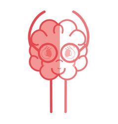 Icon adorable kawaii brain with glasses vector