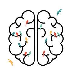 Imagination concept design brain with birds vector