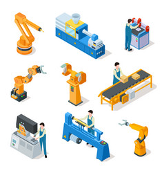 industrial robots isometric machines assembly vector image