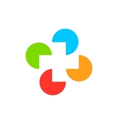 Isolated abstract colorful cross round medical vector