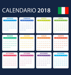 Italian calendar for 2018 scheduler agenda or vector