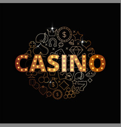 line art set of casino icons vector image