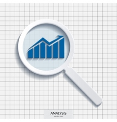 Magnifying glass with analysis icon vector