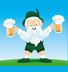 Man with beer in his hands vector