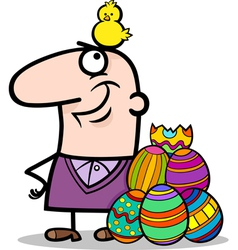 man with easter eggs and chicken cartoon vector image