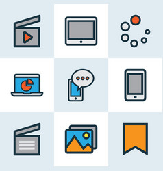 media icons colored line set with clapperboard vector image