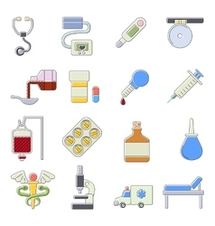 Medical icons set cartoon outine style vector image