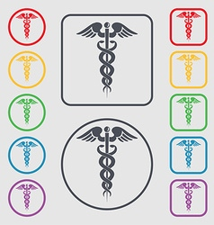 medicine icon sign symbol on the Round and square vector image