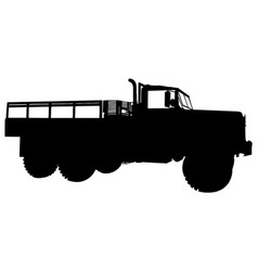 military cargo vehicle silhouette vector image