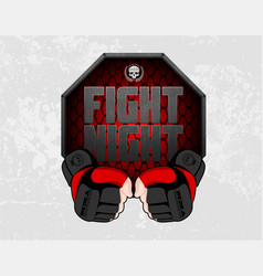 Mma gloves hands octagon stage cage poster mixed vector