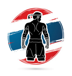 Muay thai thai boxing sport pose vector