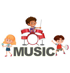 Music font and kids character vector
