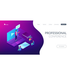 online presentation isometric 3d landing page vector image