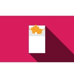 Open cigarettes pack box flat style white vector