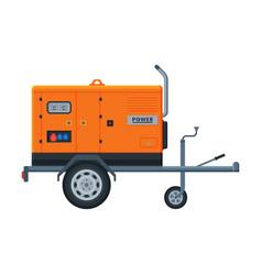 Orange portable power generator on wheels diesel vector