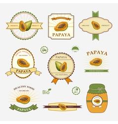 Papaya set of label design vector image