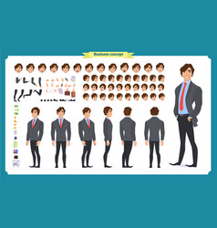 people character business set front side back vector image
