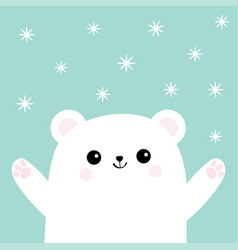 polar white small little bear cub reaching for a vector image