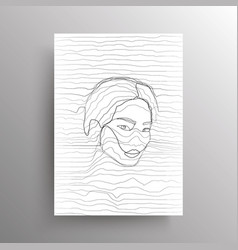 Portrait an abstract asian female face in wavy vector