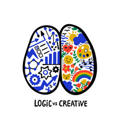 psychology logic vs creative left right human vector image