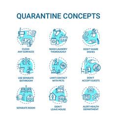 Quarantine turquoise concept icons set clean vector