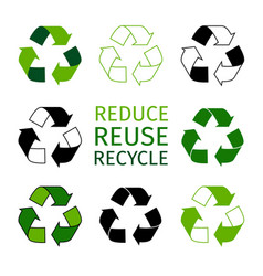 reduce reuse recycle logotype set green arrows vector image