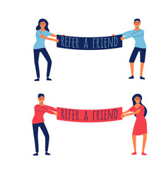 refer a friend a couple holding a placard vector image