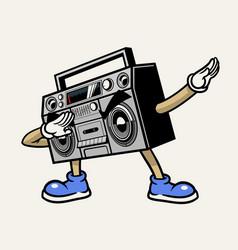 Retro boombox stereo tape mascot character vector