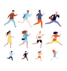 running persons sport casual and business people vector image