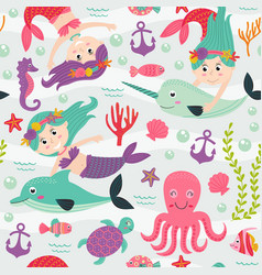 seamless pattern with mermaid and marine animals vector image