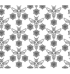 Seamless pattern with orange bees in monoline vector