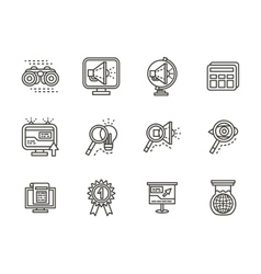 Search black line icons set vector