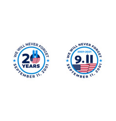 September 11 2001 - 911 20 years patriot day vector