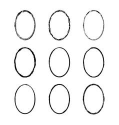 set black painted frames ovals vector image