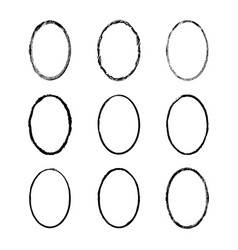 Set of black painted frames of ovals vector