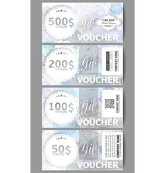 Set of modern gift voucher templates Hand drawn vector