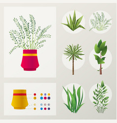 set plants cartoon vector image