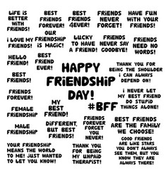 set quotes about about friendship cute hand vector image