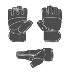 Set with image sports training gloves vector