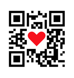 Smartphone readable qr code i love you with heart vector