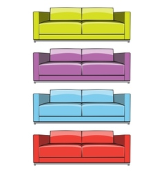 Sofa in some color variations vector image