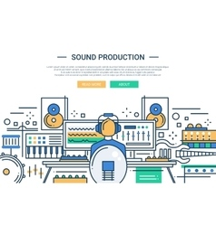 Sound Production - website header banner template vector
