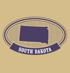 South Dakota map silhouette - oval stamp of state vector